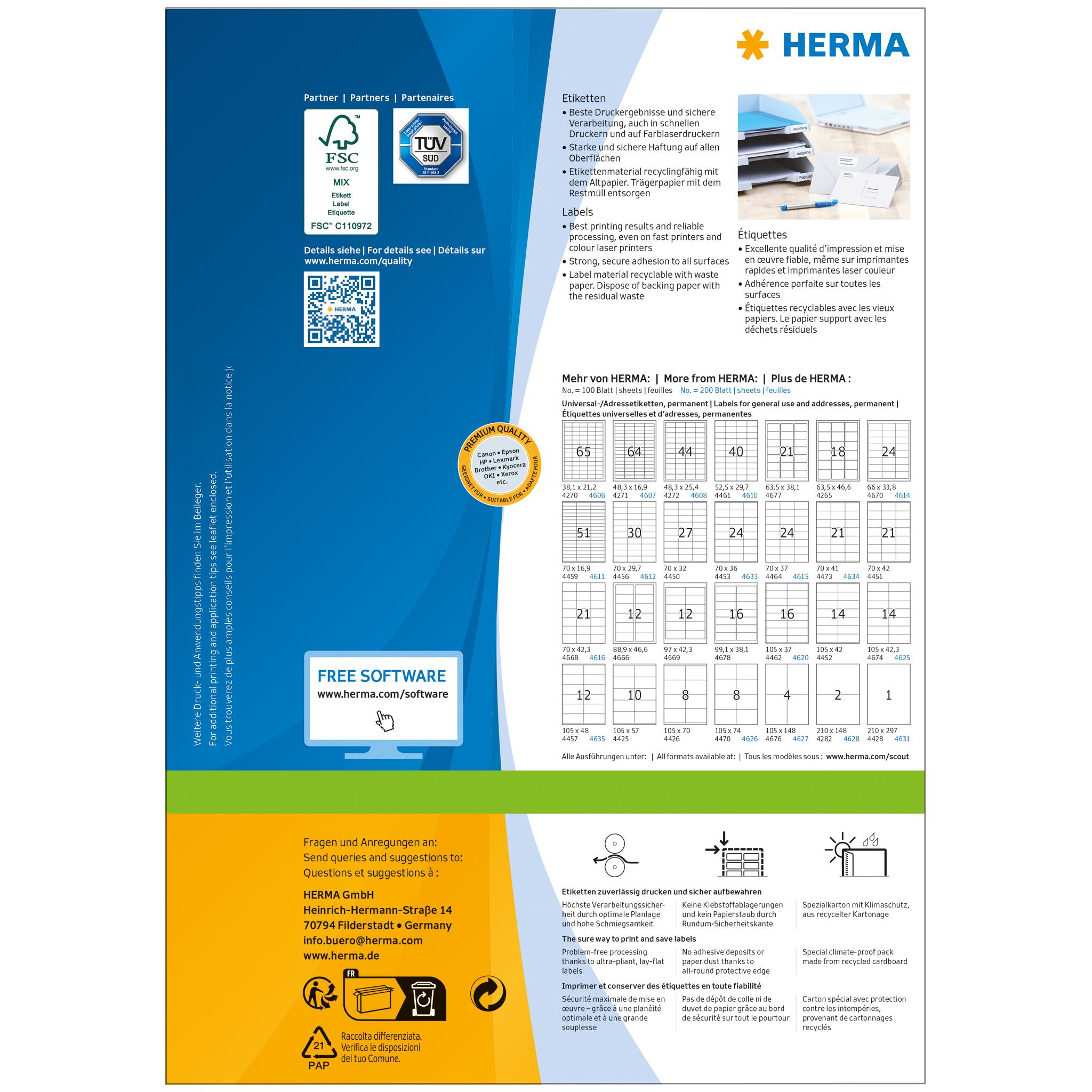 0426593b Etiketter A4 Premium, 4676